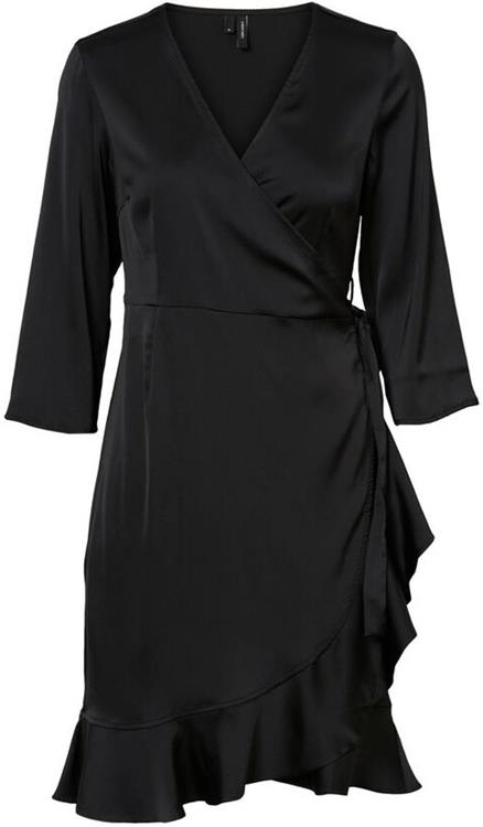 Vmhenna satin 3/4 wrap dress exp Black