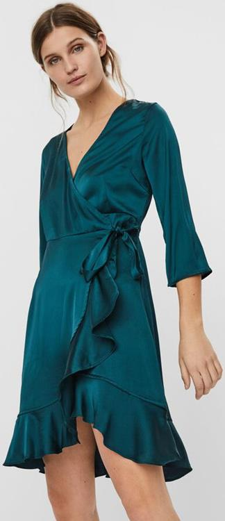 Vmhenna satin 3/4 wrap dress exp Ponderosa pine