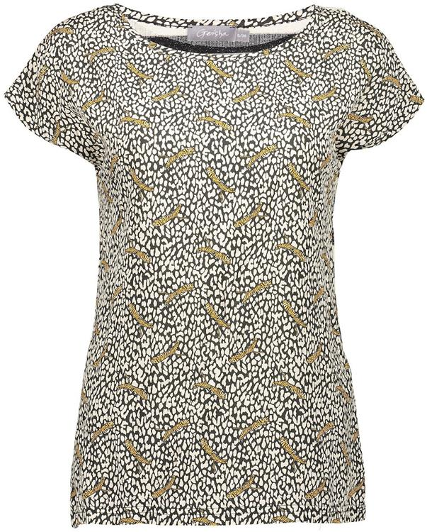 Geisha top leopard & woven striped back Off-white