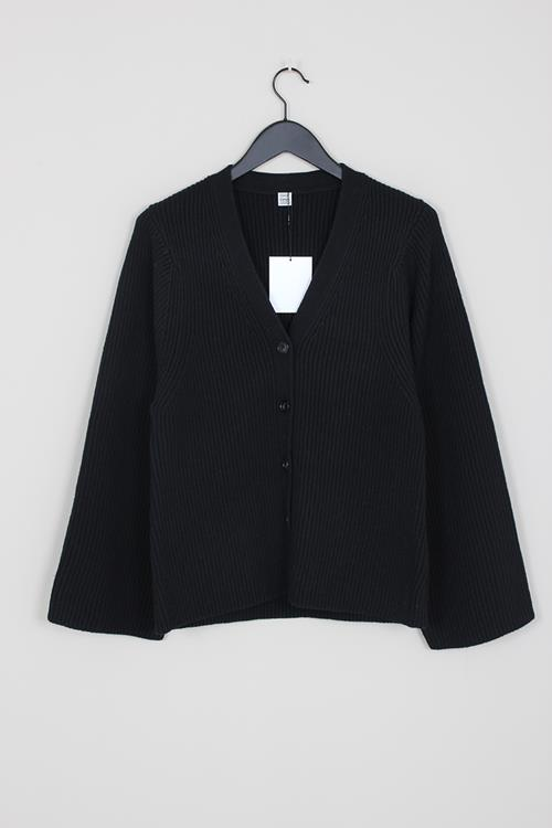 Totême lambswool knit cardigan black