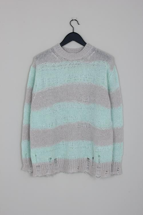 Acne Studios kalia block stripe mint/grey