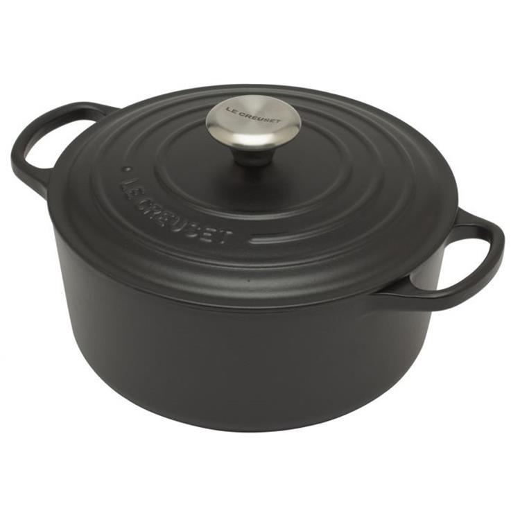 Le Creuset Signature stoof- en braadpan 24 cm - mat zwart