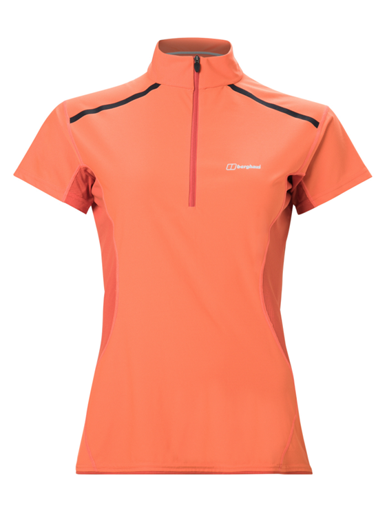 Berghaus Super Tech Tee Base Zipss Af Org/Red Shirt Dames