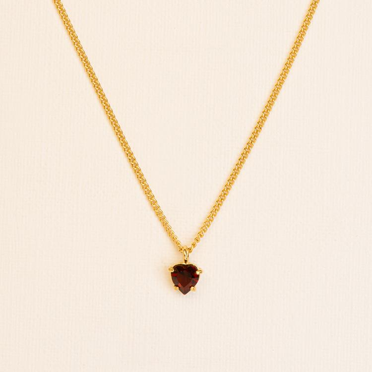 Wouters & Hendrix necklace with heart cut garnet