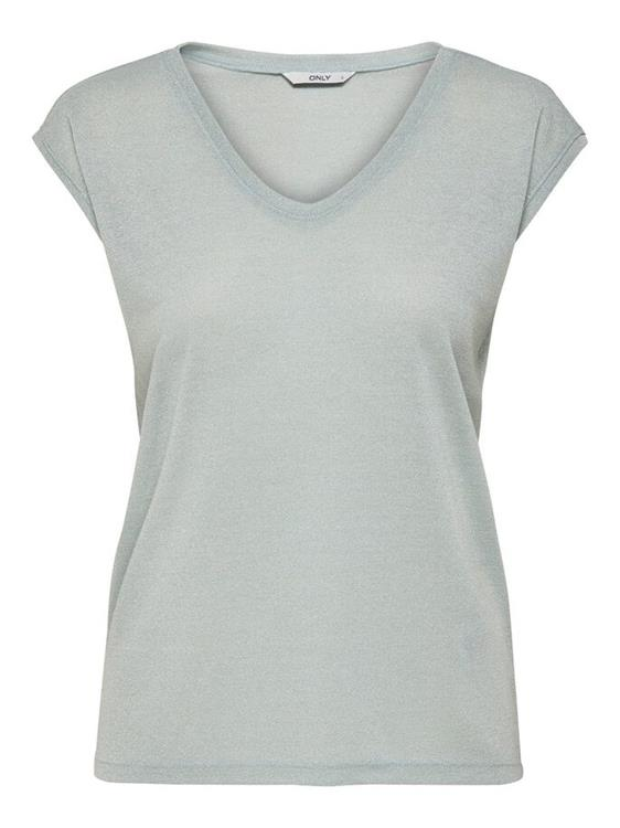 Only Top Silvery S/S V Neck Lurex