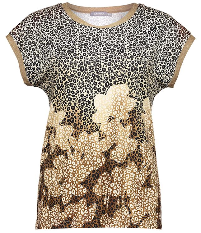 Geisha top animal+flowers & tape Sand combi