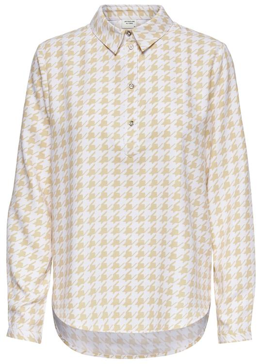 JDYnoon L/S Shirt WVN Beige/WHITE HOUN