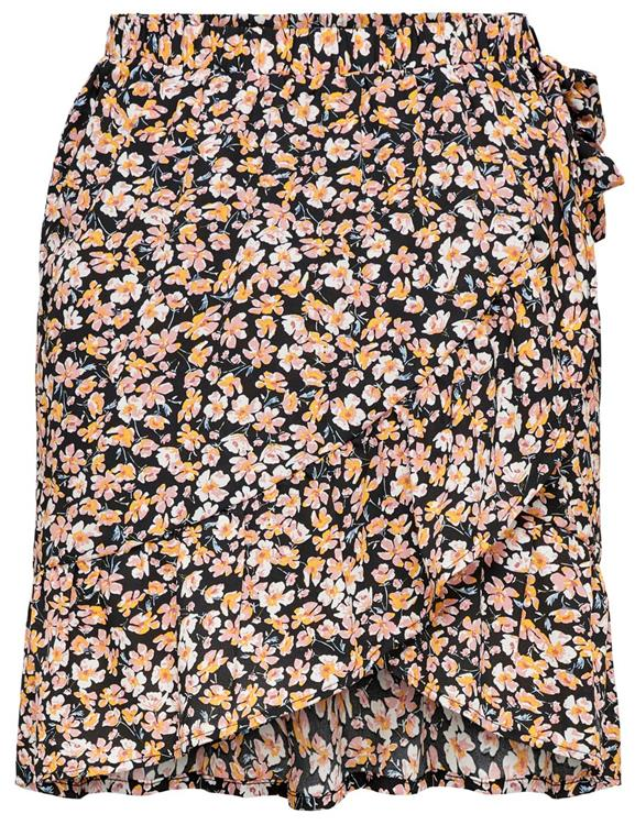 Onlfuchsia short wrap skirt wvn Black/ranch floral