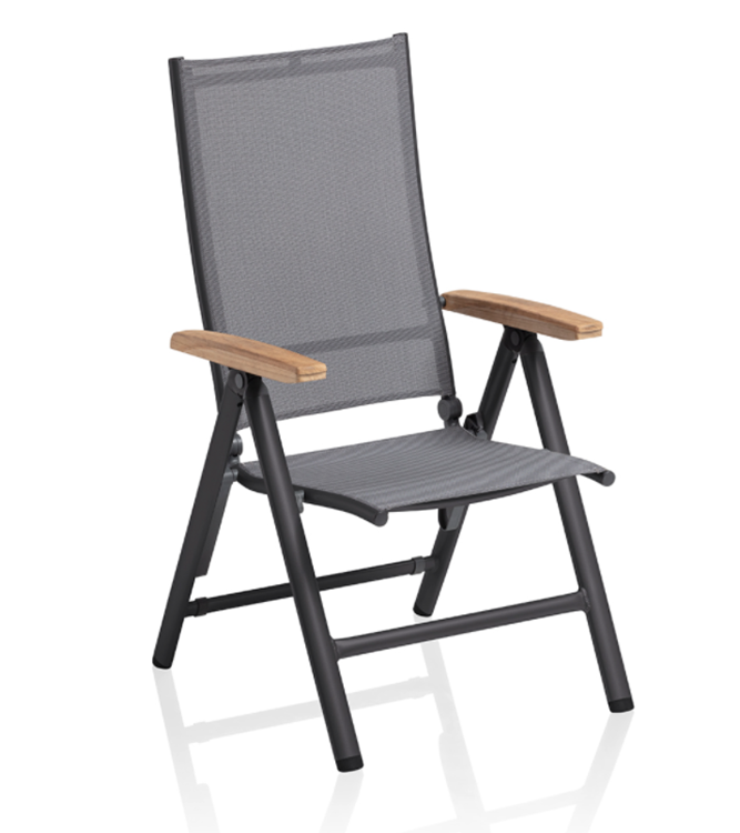 Kettler Cirrus standenstoel met teak armleggers - antraciet