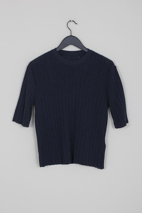Le 17 Septembre wrinkle knit top navy