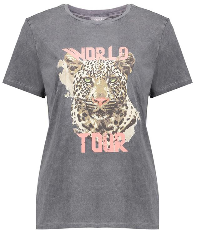 Geisha t-shirt garment dyed tiger head s/s Anthracite