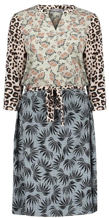 Geisha dress combi print animal & leaves Sand combi