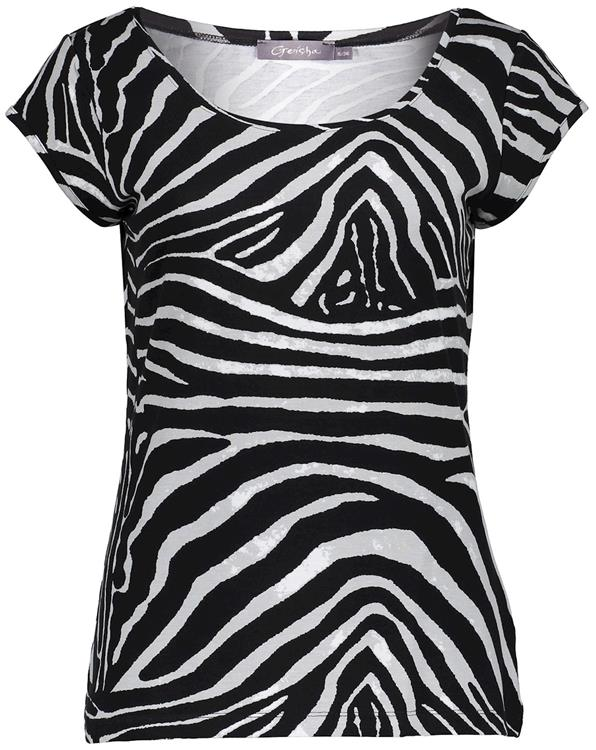 Geisha t-shirt kate Black/grey zebra