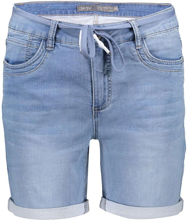 Geisha shorts with lace at waist Bleached denim