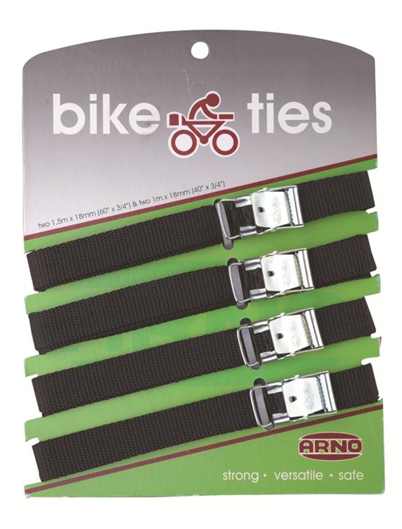 Arno bike ties / bagageriemen 4 stuks - zwart