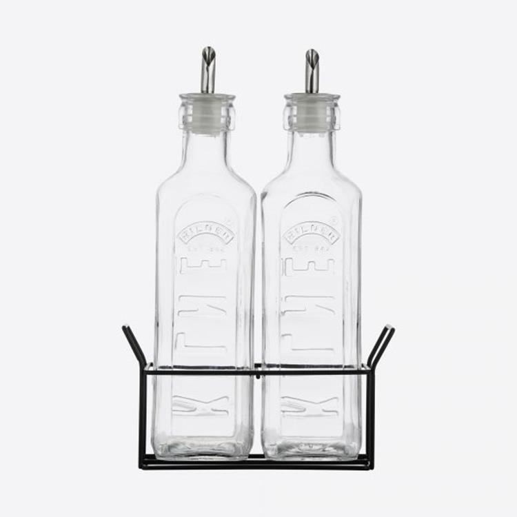 Kilner set van 2 olieflessen + metalen houder - 600 ml