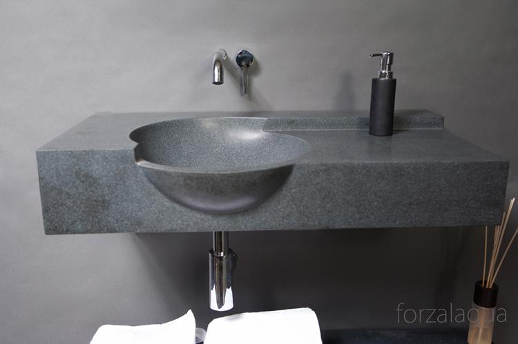 Forzalaqua wastafel laguna 80 cm zwart graniet gezoet uit assortiment