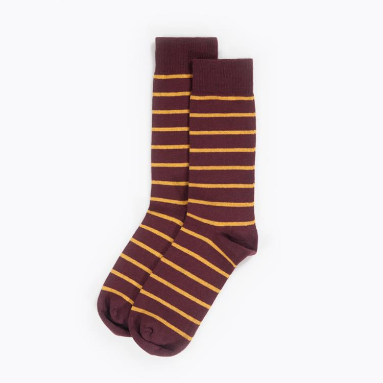 Socks Burgundy Gold Stripe