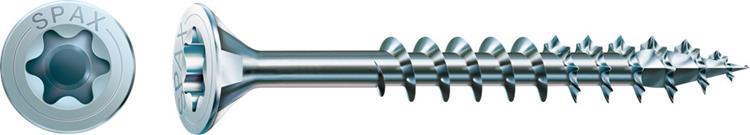 SPAX spaanplaatschroeven TORX platkop 6 x 80 mm T30 WIROX Deeldraad 100 st