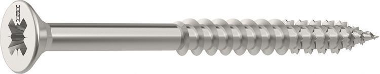 HECO FIX-PLUS schroeven POZI platkop 6 x 80 mm PZ3 RVS Deeldraad 100 ST.