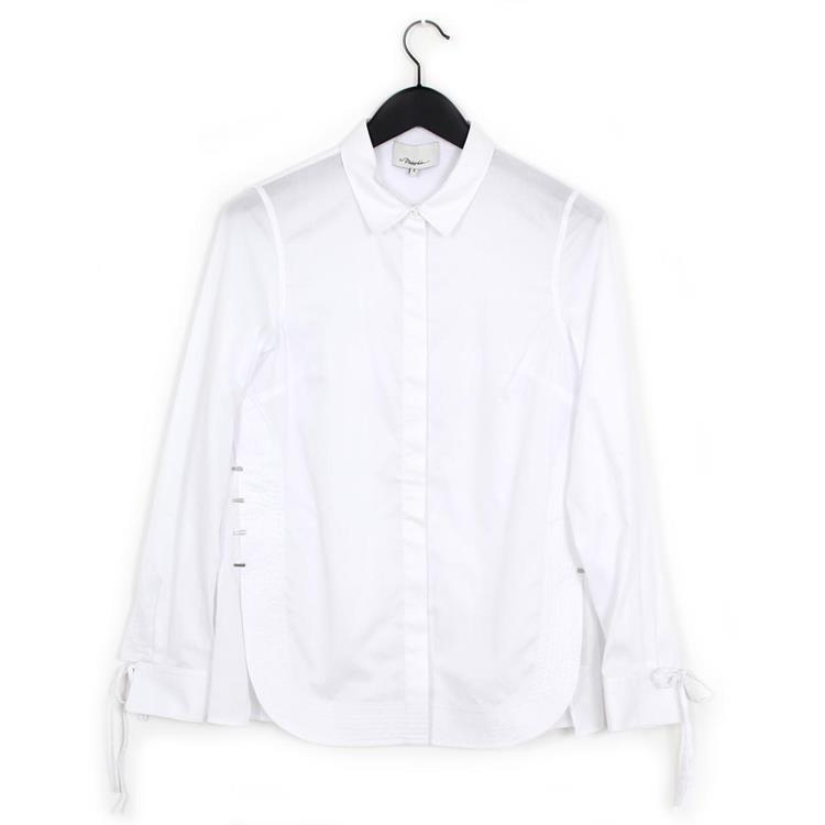 3.1 Phillip Lim ls shirt with curved hemline white