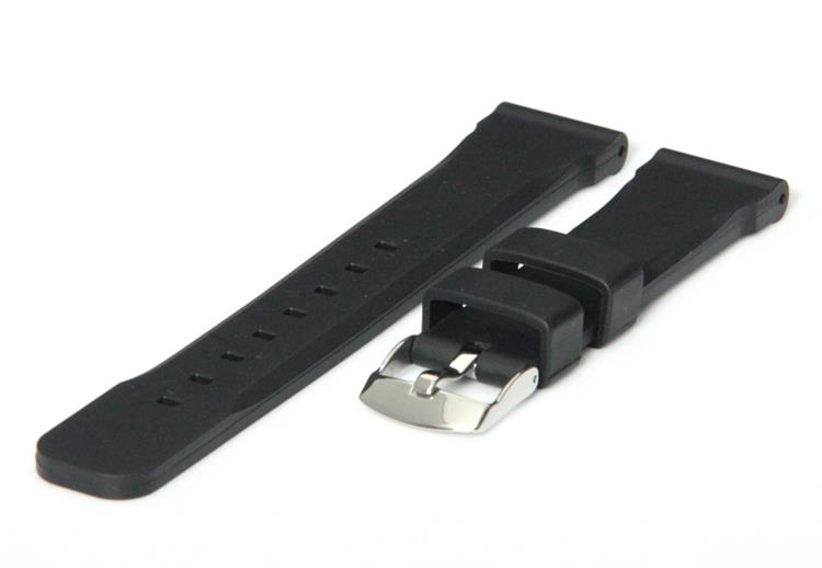 Horlogeband 20mm zwart rubber