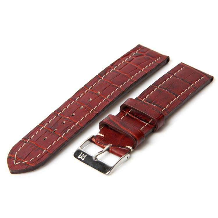 Horlogeband 18mm bordeaux croco