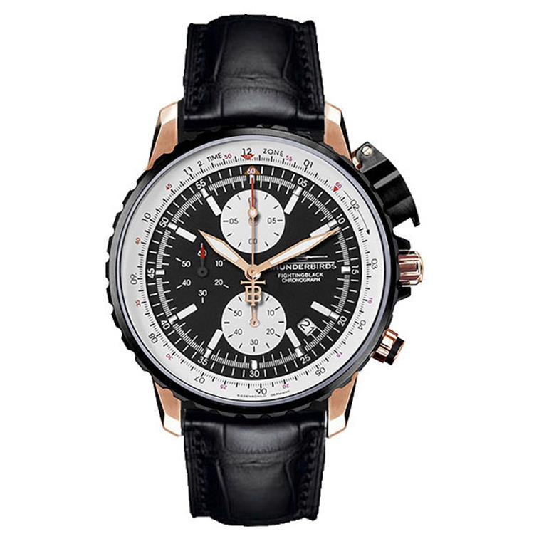 Thunderbirds horloge Fighting Black Chrono Rose 1057-02-K01