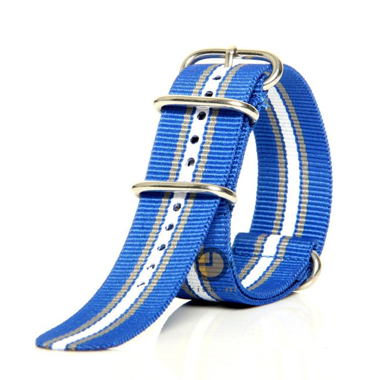 Horlogeband 24mm nylon blauw/wit