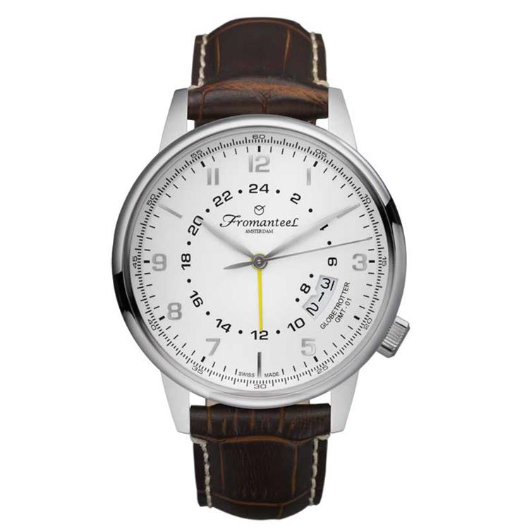 Fromanteel horloge GMT white dark brown