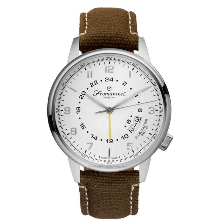 Fromanteel horloge GMT white canvas brown