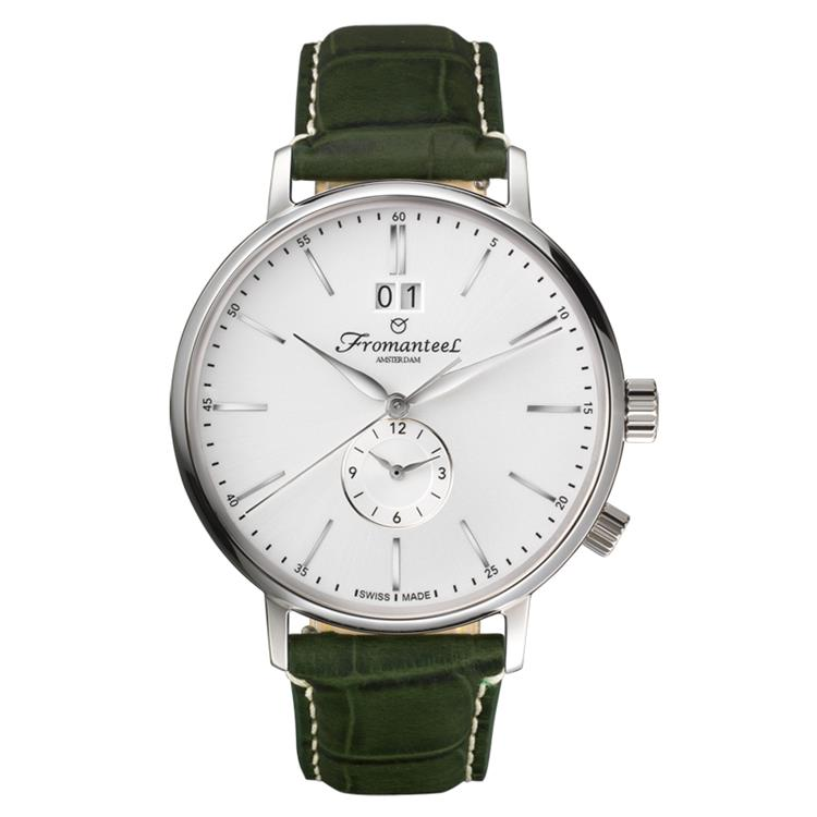 Fromanteel horloge generations Twin Time white green