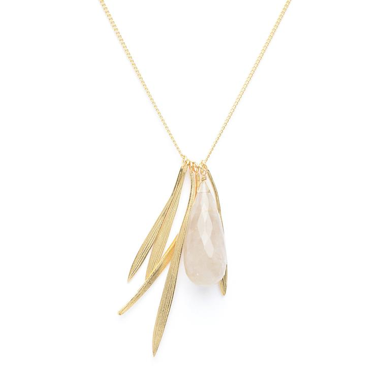 Wouters & Hendrix necklace with bamboo leaf and rutilated quartz