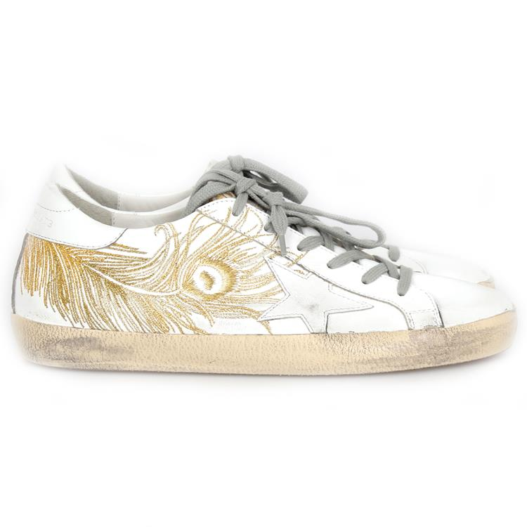 Golden Goose sneaker superstar white gold feather