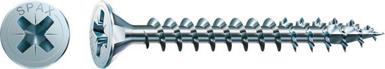 SPAX spaanplaatschroeven POZI platkop 4,5 x 70 mm PZ2 WIROX Voldraad 100 st