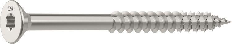 HECO FIX-PLUS schroeven TORX platkop 5 x 80 mm T25 RVS Deeldraad 200 ST.