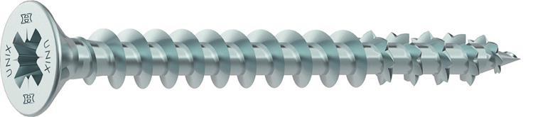 HECO UNIX PLUS schroeven POZI platkop 4,5 x 20 mm PZ2 VERZINKT VOLDRAAD 200 ST.