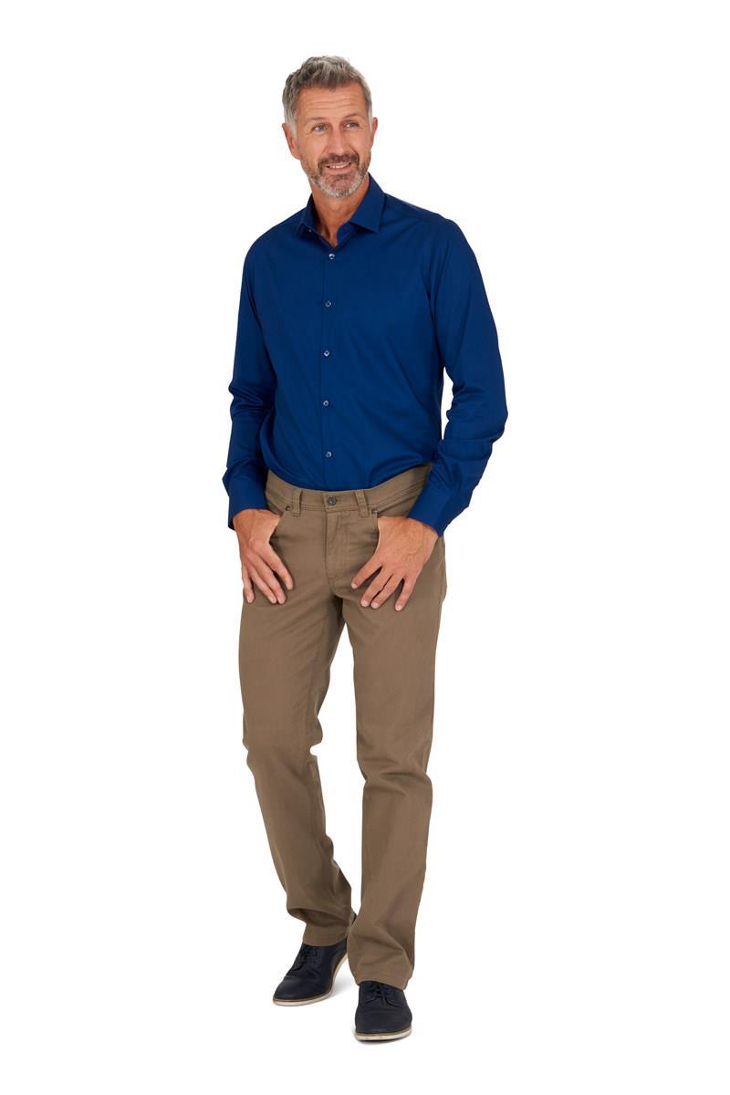Overhemd Mannen.Heren Overhemd Katoen Blauw Slim Fit Miller Monroe