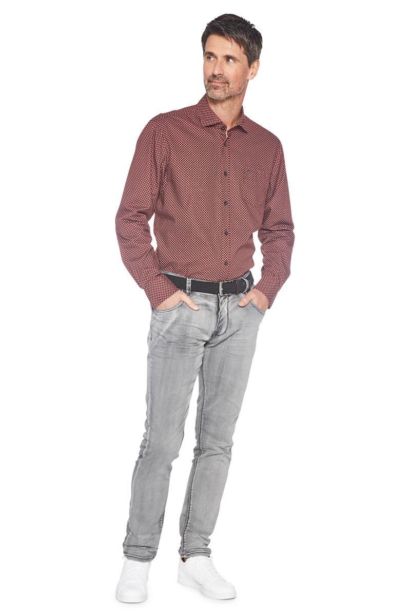 Bordeaux Overhemd.Lerros Overhemd Klassiek Patroon Bordeaux Miller Monroe