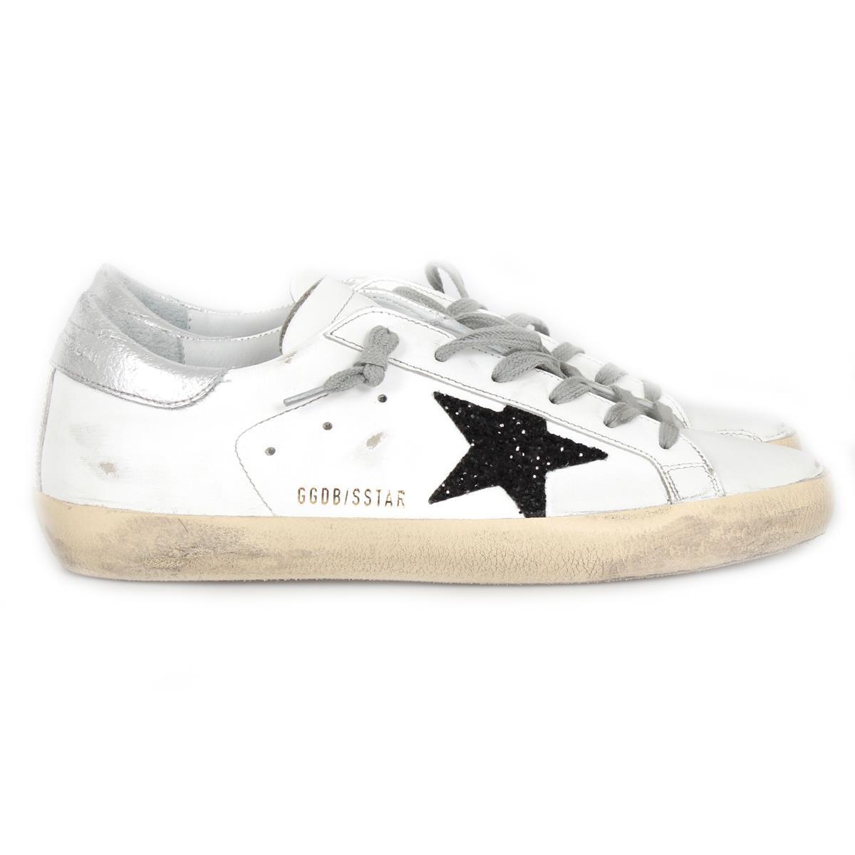 Golden Goose White & Black Glitter Superstar Sneakers UALRQzgKHh