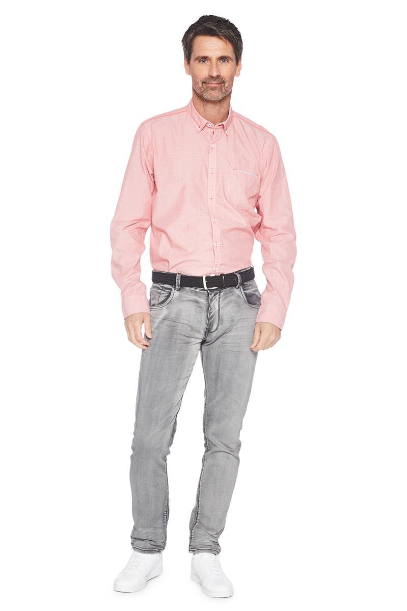 Casual Overhemd.Heren Greenfield Casual Overhemd Stip Print Roze Miller Monroe