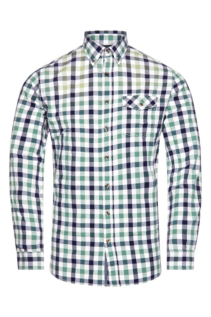 Heren Overhemd Casual.Heren Overhemd Casual In Ruitpatroon Groen Miller Monroe