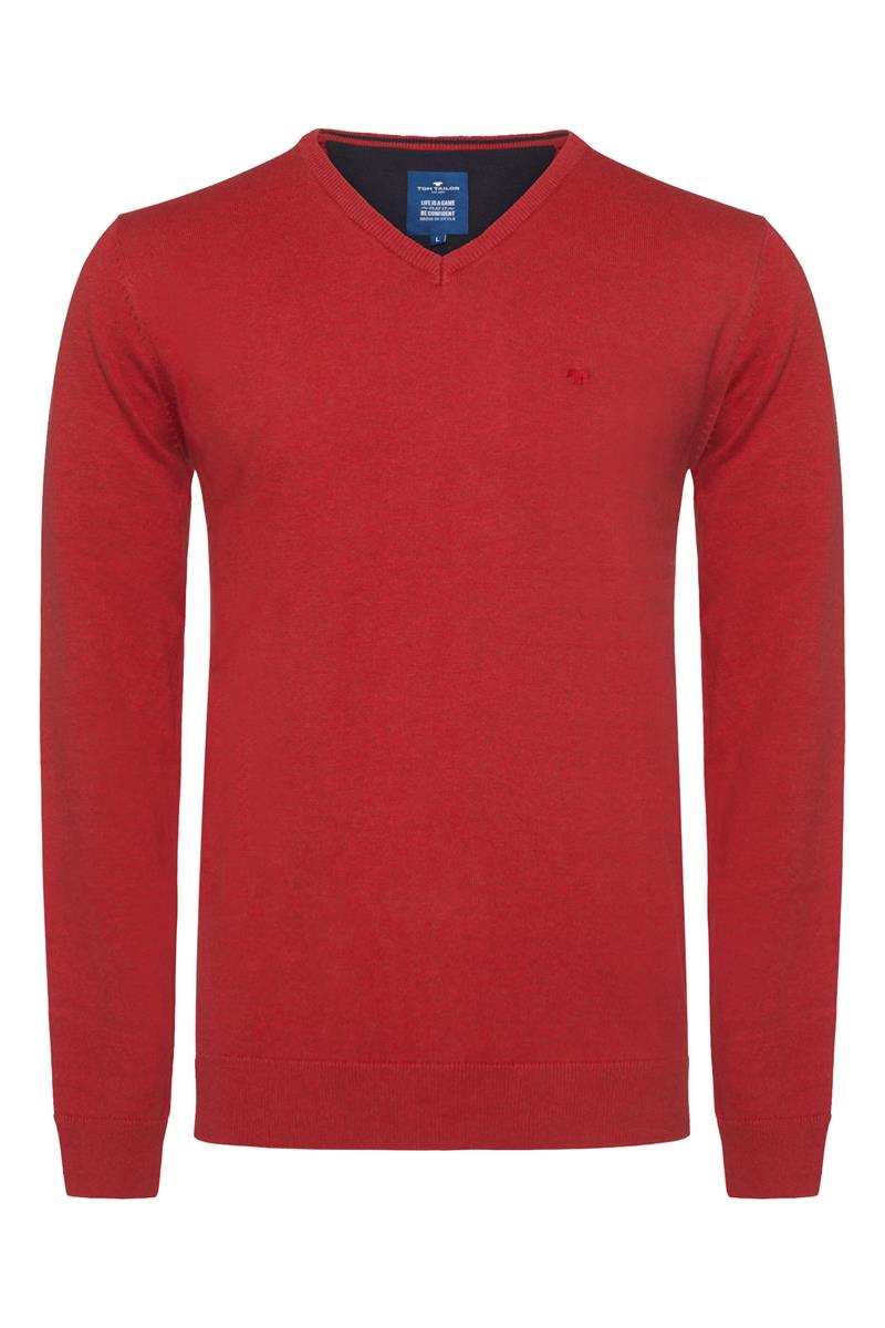 Trui Rood Heren.Tom Tailor Casual Trui V Hals Donker Rood