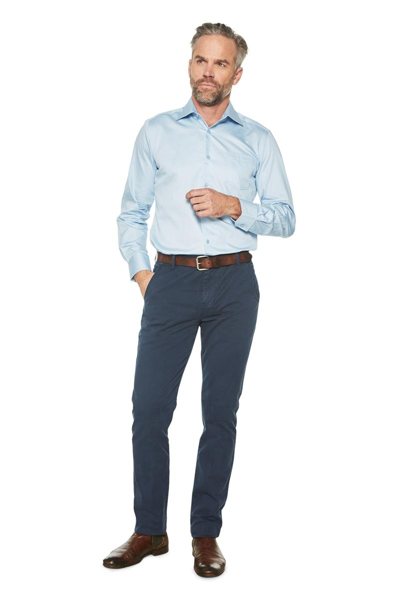 Lichtblauw Overhemd.Heren Overhemd Klassiek Basic Gerit Wit Miller Monroe