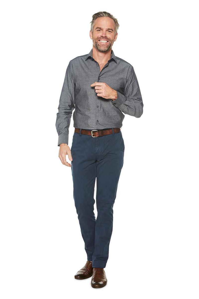 Grijs Overhemd Heren.Heren Overhemd Mauritz All Over Dessin Grijs Miller Monroe