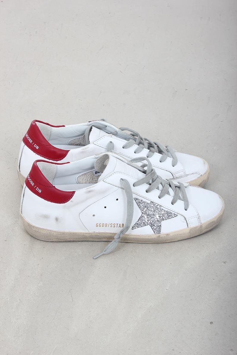 78c1181ce6bf Golden Goose sneaker superstar white red silver glitter. Zoom