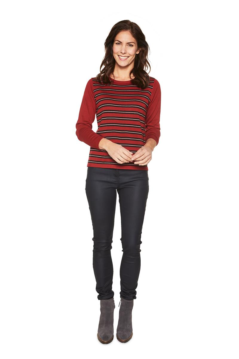 Dames Trui Rood.Dames Trui Pullover Tabetha Gestreept Rood Miller Monroe