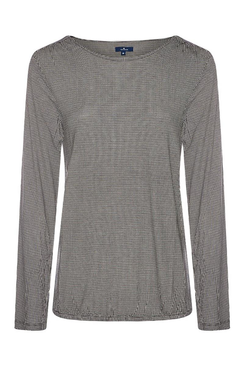 6917b63a5db5cd Damen Tom Tailor Women Langarmshirt Print Schwarz - Miller&Monroe