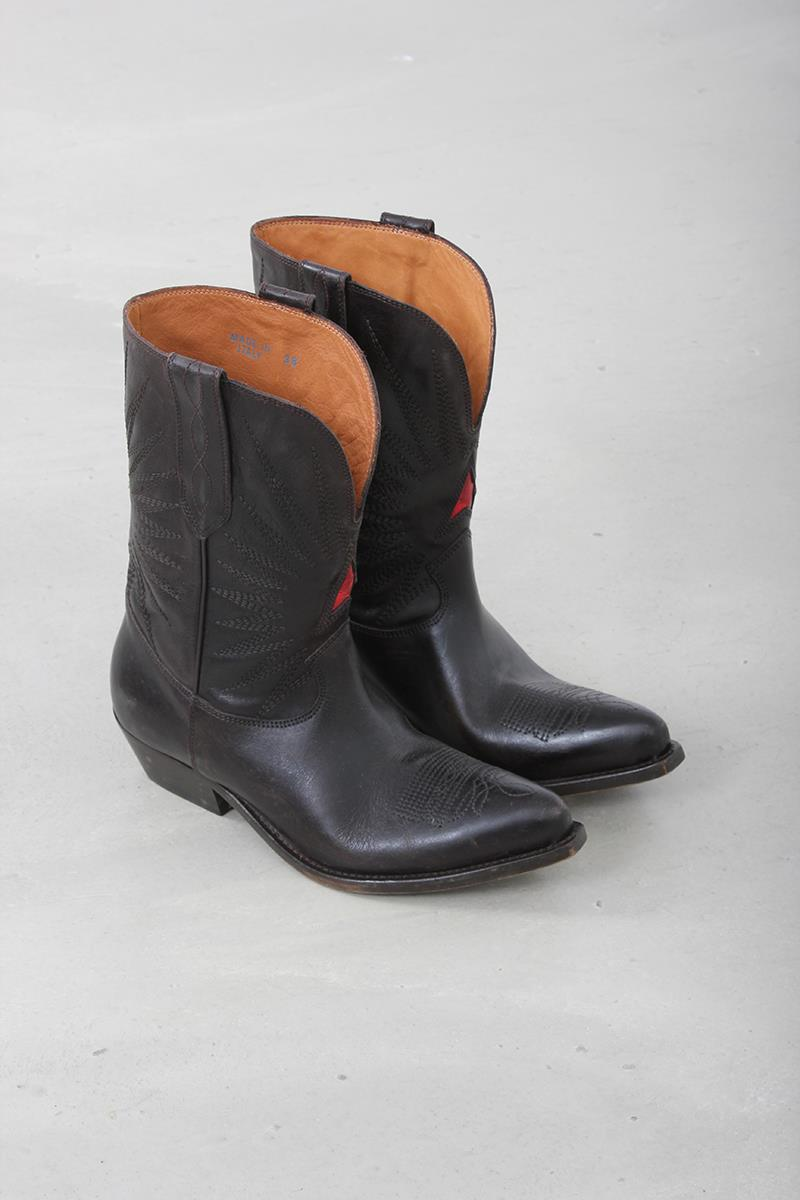 b890eb045f8 Golden Goose boots wish star low dark brown leather