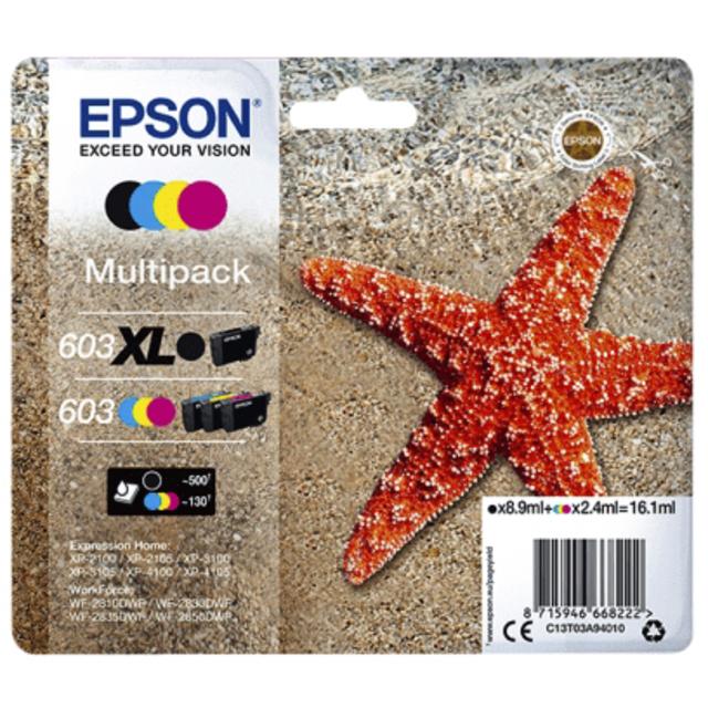 Inktcartridge Epson 603 T03A9 zwart XL+ 3 kleuren